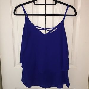 Royal blue layered flowy tank with detailed back